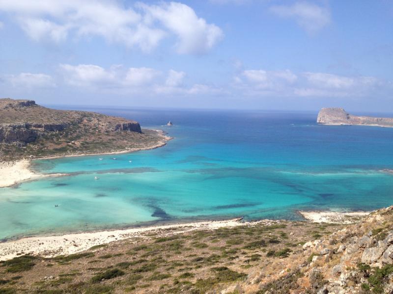 Blauer Himmel mit einigen Wolken, Sandbänken und Lagunen, das Meer glasklar, rechts im Hintergrund die Insel Gramvousa mit der Festung